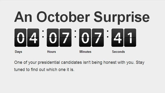 Website Counting Down to 'October Surprise' Has the Internet Guessing [UPDATE x3]
