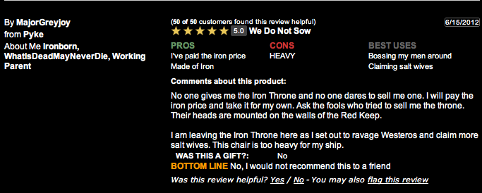 GoT Iron Throne Reviewed by Those Who Know it Best