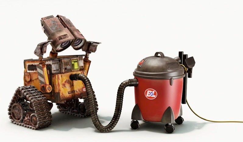 Wall-E Gets Friendly With A Vacuum Cleaner