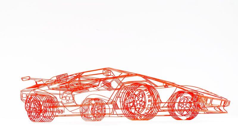 Artist Creates Wireframe Lamborghini Countach
