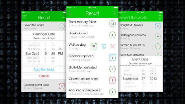 Recur! Keeps Track of Your Completed To-Do's, Goals, and Tasks