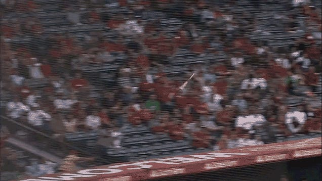 Gentlemanly Angels Fan Runs Away, Allows Flying Bat To Just Miss Woman