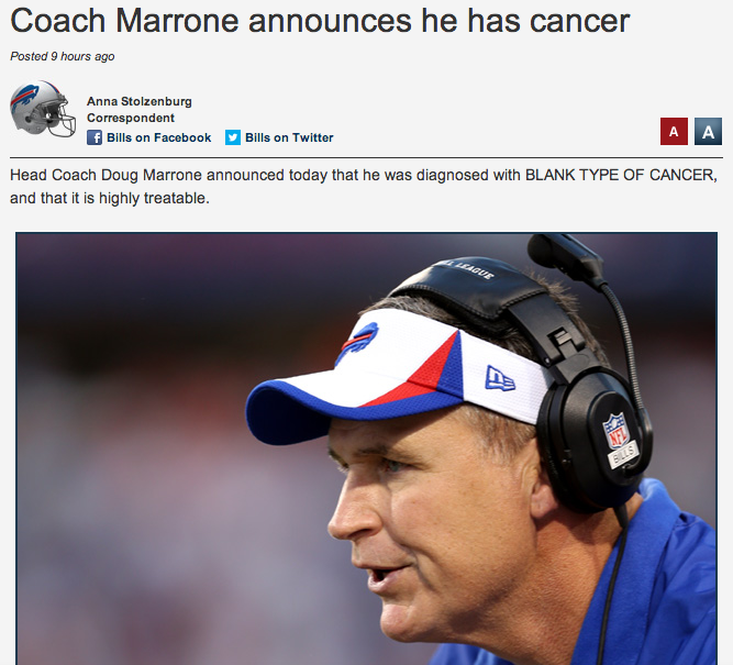 """Buffalo Bills Publish Report That Head Coach Has """"BLANK TYPE OF CANCER"""""""
