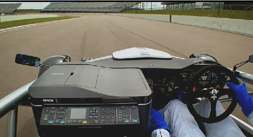 Race Car Races Inkjet Printer Around Track