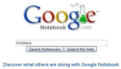 Google Notebook adds search