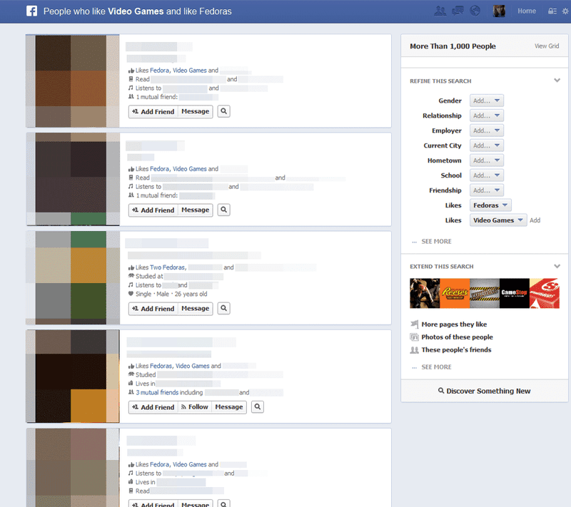 Gamers Also Like Cheetos and Fedoras, According To Facebook's New Search Tool