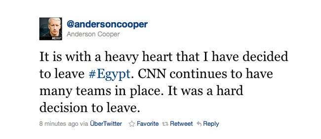 Breaking: Anderson Cooper Is Leaving Egypt
