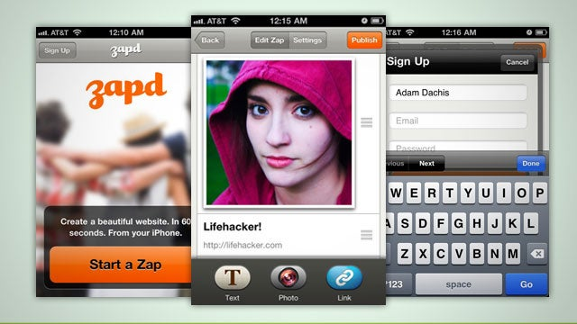Zapd Helps You Create Attractive Web Sites with Your iPhone