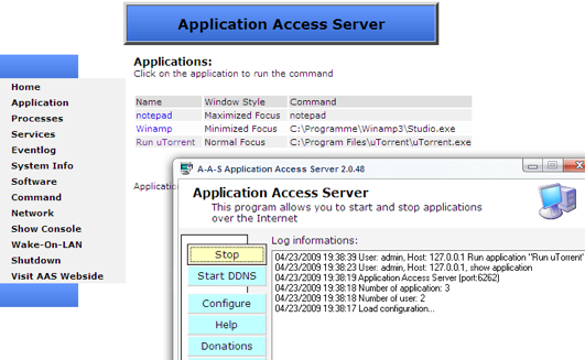 Application Access Server Remotely Launches Any Application