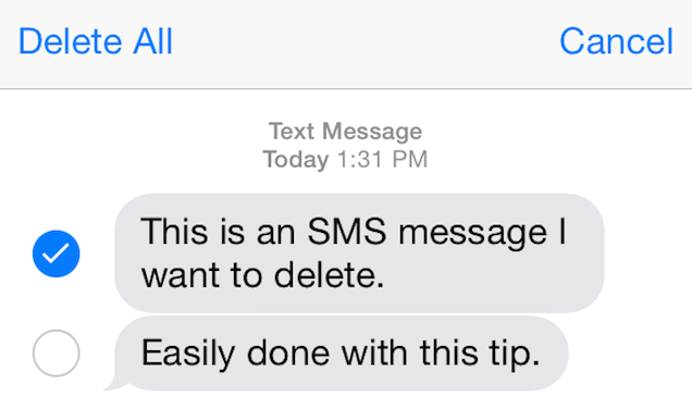 Delete Individual SMS Messages on iOS