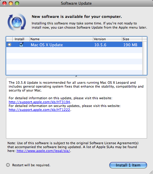 Mac OS X 10.5.6 Update Now Out