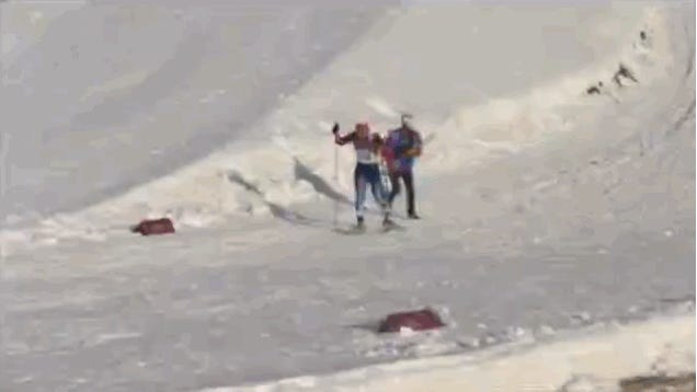 Canadian Coach Saves Russian Skier In the Middle Of a Race