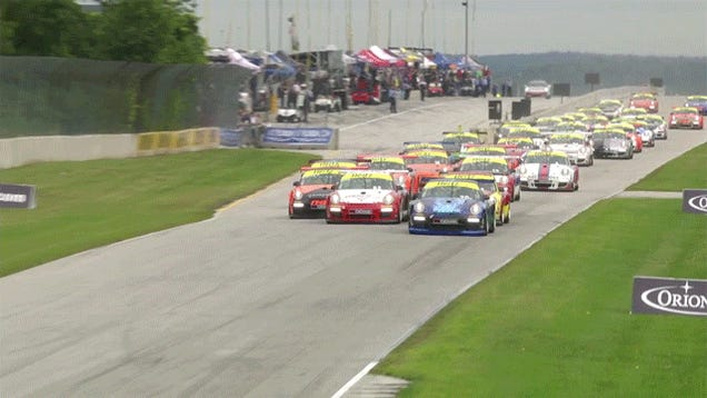Porsche Racer Spins Out In Front Of 29 Other Cars, Doesn't Crash