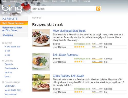 Bing Adds Impressive, Advanced Recipe Search Results