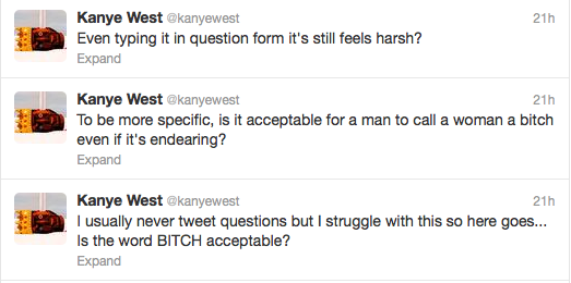 Kanye Leads Introspective Twitter Debate (With Himself) Re: the Word 'Bitch'