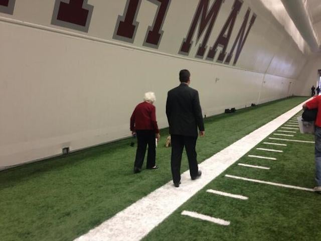 Barbara Bush, Shuffling Along At Johnny Manziel's Pro Day