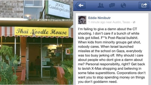 Austin Noodle House Owner in Hot Water Over Racially Charged Comments About Sandy Hook Shooting