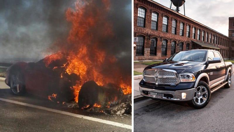 Dallas Auto Journalist's Ram Pretends It's A Ferrari And Catches Fire