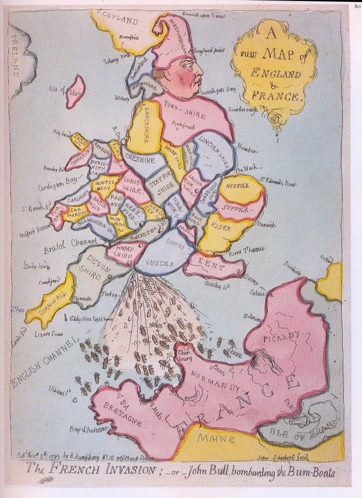 A 1793 map of England firing a tsunami of poop at revolutionary France