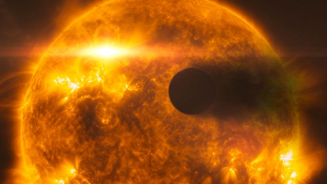 A Distant Planet Whose Atmosphere Was Blasted Away by Solar Flares