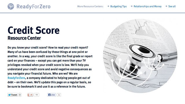 Debt Management Webapp ReadyForZero Now Monitors Your Credit Score