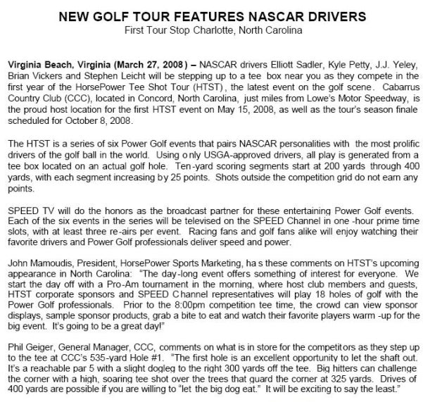 NASCAR Drivers Tee Off In New Golf Tour, Sunday Napping To Hit All Time High