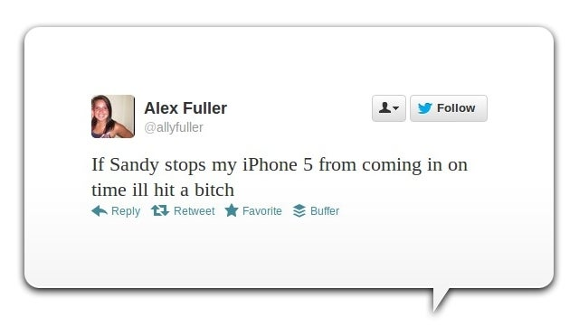 13 People Cursing Hurricane Sandy—For Delaying Their iPhone Deliveries
