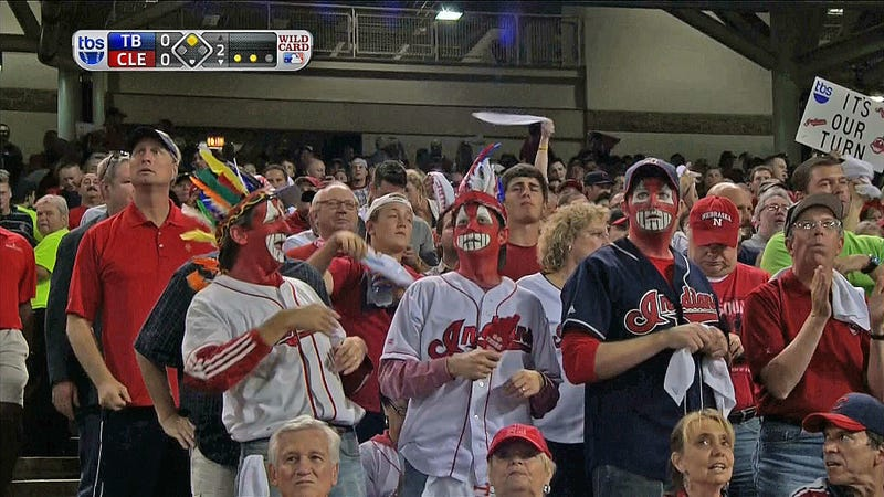 Indians Fans Wear Redface
