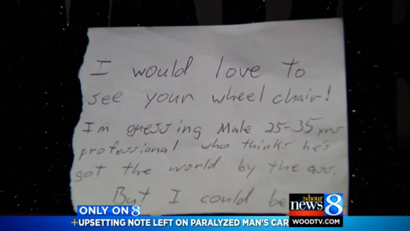 Paralyzed Man Finds Angry Note After Parking in Handicapped Spot