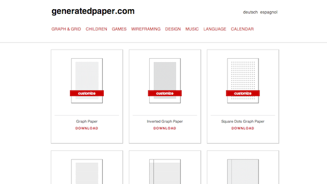 Generated Paper Features Over 40 Printable Paper and Notebook Types