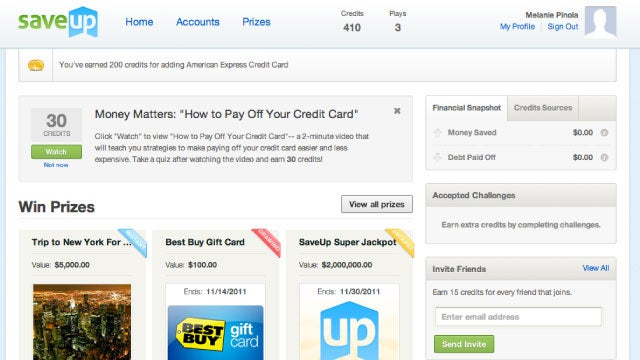 SaveUp Encourages You to Save Money and Pay Down Debt with Chances for Big Prizes