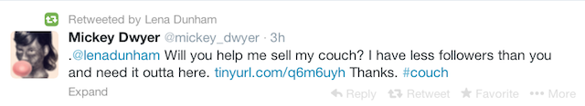 ​Lena Dunham Helps Some Dude Sell a Couch on Craigslist