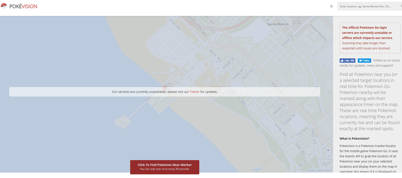 Pokevision and OtherPokémon GoTrackers Seem To Have Been Shut Down