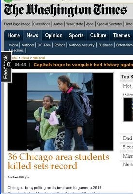 Washington Times Runs Photo of Obama Girls With Story of Murdered Schoolchildren in Chicago