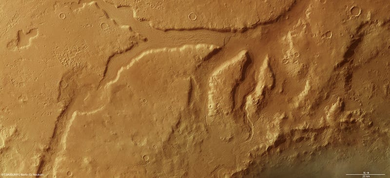 The Red Planet's Deep Valleys in Kaleidoscopic Color