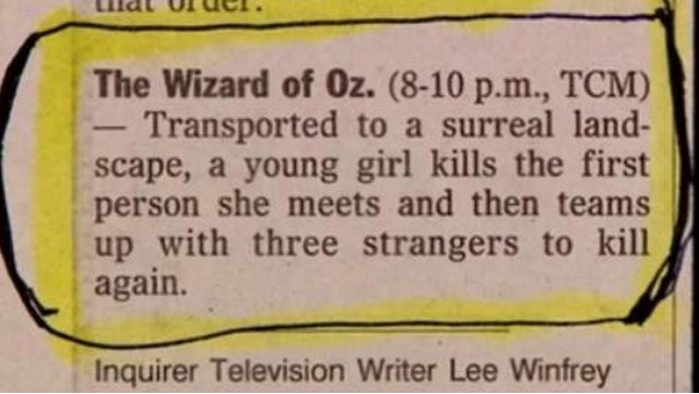 Internet Rediscovers TV Columnist's Pulitzer-Worthy Synopsis of The Wizard of Oz