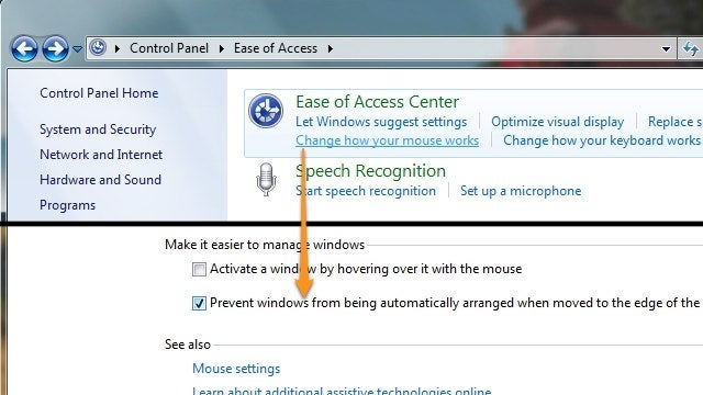 Disable Windows 7's Aero Snap from the Control Panel
