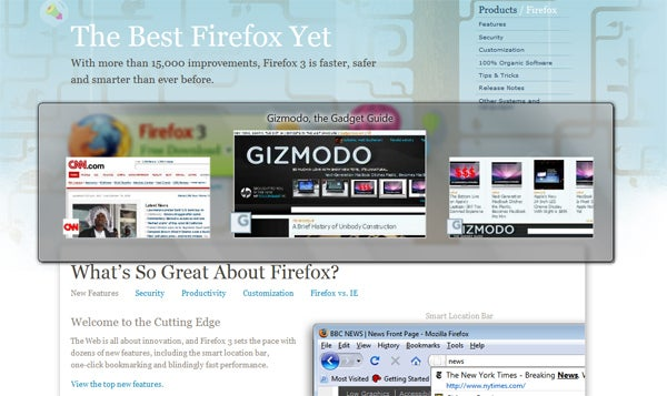 Download Firefox 3.1 Beta 1 With Awesome New 3D Tab Interface Now