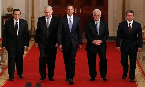 Obama Dines with Israeli Prime Minister, Palestinian President, Clinton