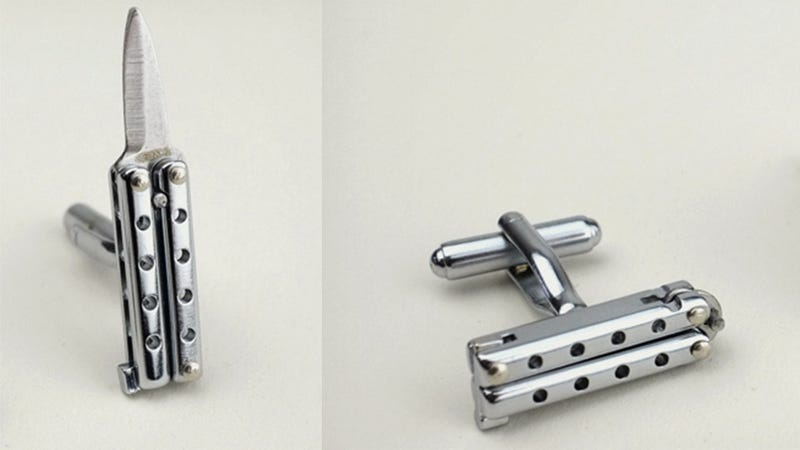 James Bond Would Totally Rock These Butterfly Knife Cufflinks