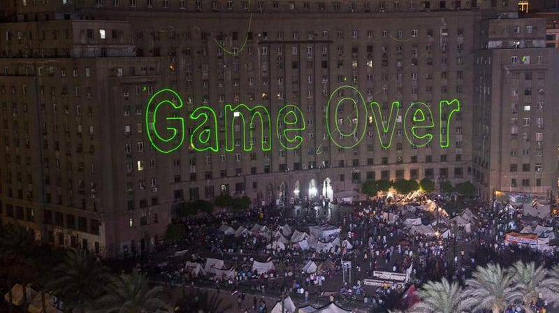 A Day Before Egyptian Coup, Protestors Flashed Giant 'Game Over' Sign