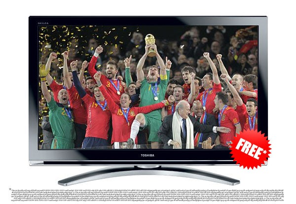 Toshiba Tries to Weasel Out of Free-TV-If-Spain-Wins World Cup Promotion