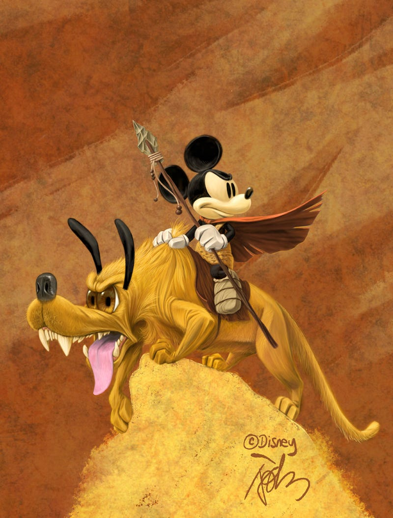Mickey Mouse and Pluto get the Frank Frazetta treatment
