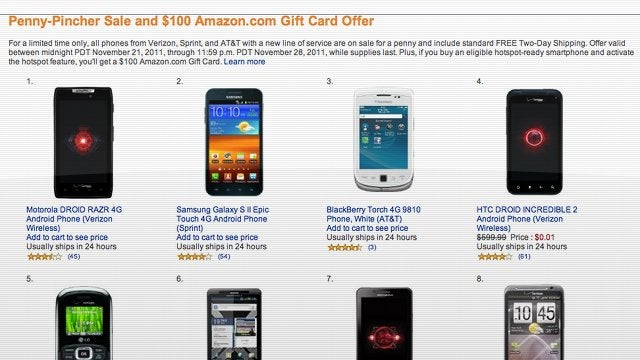 Amazon Is Selling Nearly Every Smartphone for a Penny