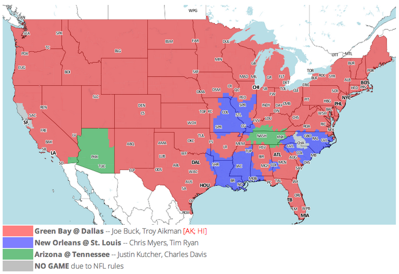 Which TV Market's Getting Screwed Today? Your Week 15 NFL Viewing Maps