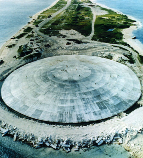 A giant concrete dome filled with radioactive dirt, smack dab in the Pacific Ocean