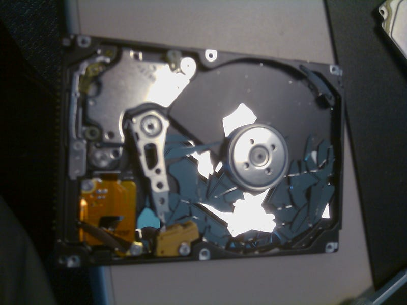 How Can a Hard Drive's Platter Shatter, Without Evidence of Impact?