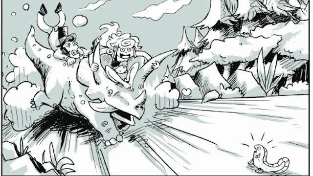 In the webcomic Dawn of Time, a time traveler and a barbarian team up in the age of dinosaurs