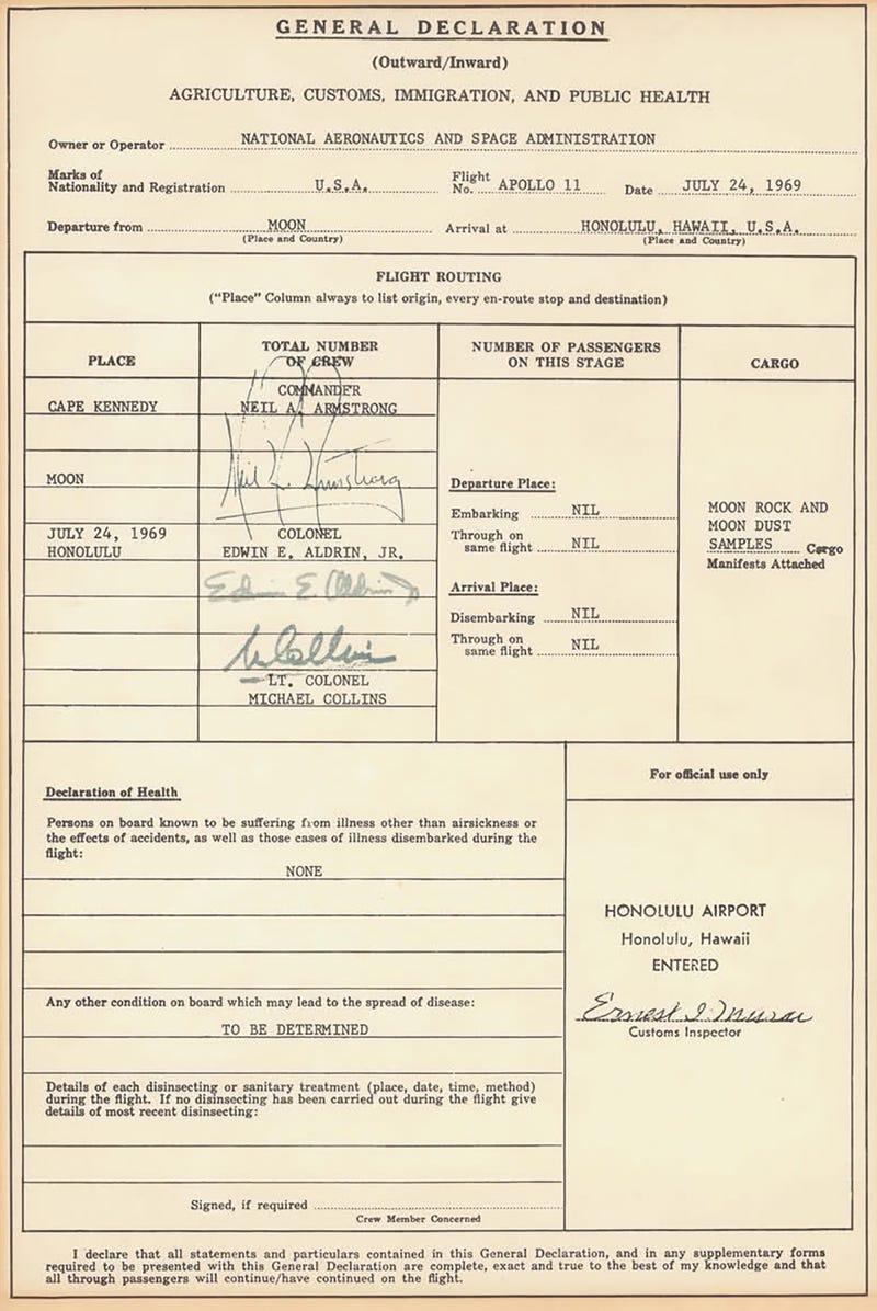 No, Apollo 11 astronauts didn't go through customs after splashdown