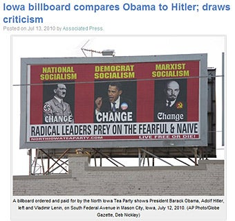 Tea Party Billboard Compares Obama to Hitler and Lenin